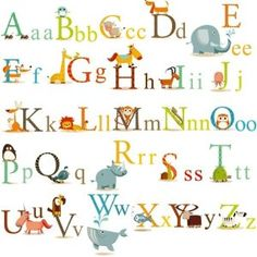 Zoo animal alphabet baby nursery wall decals. Repositionable and removable--peel and stick! (Amazon.com)