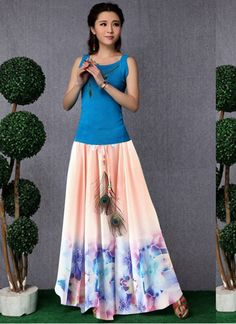 New Green Faux Georgette Printed Peach Colors, Pink Color, Colour, Western Tops, Ethnic Wear Designer, New Green, One Piece Dress, Printed Skirts, Tie Dye Skirt