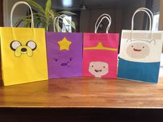 Adventure Time party favor bags. Turned out great!