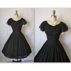 50's Cocktail Dress // Vintage 1950's Pleated Black Chiffon Full Cocktail Party Holiday Dress XS. $140.00, via Etsy.