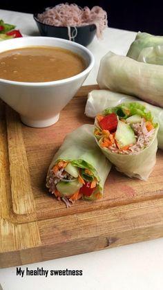 Spring rolls and Thai peanut sauce {Vegan} - plats - Vegetarian Recipes Organic Recipes, Raw Food Recipes, Veggie Recipes, Asian Recipes, Vegetarian Recipes, Healthy Recipes, Thai Recipes, Food Tips, Healthy Cooking