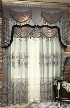 new Luxury and Gorgeous embroidery sheer curtain blinds drapes for sitting room and living room with embroidery flower stitched $103.00