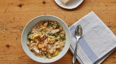 The creaminess of risotto makes it an instant comfort food, but the addition of sauteed summer squash and gently cooked, pencil-thin asparagus drives up the nutritional value too.
