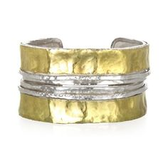 Elegant Cuff with Two Bands of 18kt Gold accents on Sterling Silver