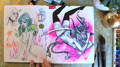 Sketchbook Tour, Artist Sketchbook, Sketchbook Inspiration, Artist Journal, Art Diary, Alien Art, Creative Artwork, Pretty Art, Painting & Drawing