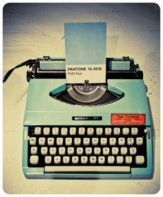 Pantone blue typewriter