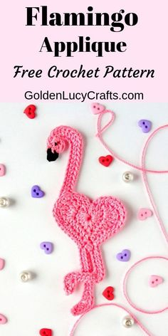 Learn how to make crochet flamingo applique Free crochet pattern easy project This cute heart-shaped flamingo perfect for any embellishment scrapbooking or cardmaking crochetflamingo flamingo crochetpattern crochetapplique Crochet Pattern Free, Crochet Gratis, Easy Crochet Patterns, Crochet Motif, Crochet Toys, Crochet Bookmark Patterns Free, Doilies Crochet, Crochet Appliques, Pattern Sewing