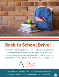 We are proud to sponsor a Back to School Drive to benefit the schools in the Houston community! Any donations will help ensure students to have the most successful school year possible. Pet Friendly Apartments, Two Bedroom Apartments, Designated Area, Apartment Communities, Pitbull Terrier, Houston Tx, Schools, Back To School, Benefit