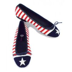 Needlepoint Stars And Stripes Ballet Flats