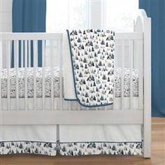Blue Woodland Mountains 3-Piece Crib Bedding Set
