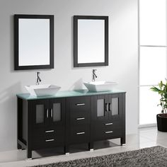 Virtu USA, Bradford 60 in. Double Basin Vanity in Espresso with Glass Vanity Top in Aqua and Mirror, at The Home Depot - Tablet Double Sink Bathroom, Double Sink Vanity, Single Bathroom Vanity, Master Bathroom, Neutral Bathroom, Bath Cabinets, Bathroom Vanity Cabinets, Bathroom Furniture, Bathroom Ideas