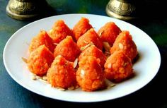 Enjoy Motichoor Modak as a religious offering during the Ganesh Chaturthi Festival or as a sweet dish after your meal of Achari Masala Puri and Aloo Dum. Indian Desserts, Indian Sweets, Indian Food Recipes, Ethnic Recipes, Indian Snacks, Vegetarian Recipes, Great Desserts, Dessert Recipes, Pudding Desserts