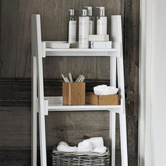 Give your bathroom a gorgeously chic and clutter-free look with this smart four-step storage ladder. Part of our Luxury White Lacquer furniture collection, the ladder is made of beech wood and is exclusively available to us in gorgeous glossy white wit Luxury Bathroom Vanities, Modern Bathroom Mirrors, Bathroom Accessories Luxury, Luxury Master Bathrooms, Rustic Bathrooms, Modern Bathrooms, Bamboo Bathroom, Bathroom Photos, Small Bathrooms