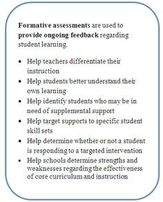 Formative assessments to provide ongoing feedback on student learning.