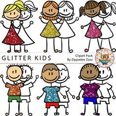 Glitter Kids / Children Clipart - BW / line art included - FREE