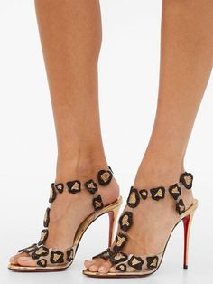 Christian Louboutin Parsemis crystal-embellished T-bar sandals Stiletto Heels, Hot Shoes, Shoes Heels, Pvc Transparent, Heels Outfits, Fashion Outfits, Christian Louboutin Heels, Ornament