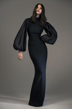 Shop Voluminous Sleeve Crepe And Satin Gown. Rasario's voluminous sleeve gown is designed with a mock neckline, fitted silhouette and a floor length. Elegant Dresses, Pretty Dresses, Beautiful Dresses, Formal Dresses, Wedding Dresses, Casual Dresses, Elegant Clothing, Bridesmaid Gowns, Casual Attire