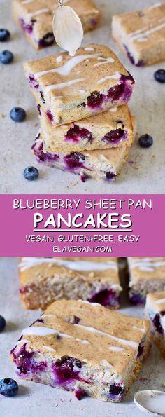 Blueberry Sheet Pan Pancakes vegan glutenfree Oven baked blueberry pancakes These sheet pan pancakes are vegan glutenfree healthy and low in calories The recipe is easy t. Baked Pancakes, Gluten Free Pancakes, Vegan Gluten Free Breakfast, Gluten Free Baking, Gluten Free Recipes, Vegan Recipes, Vegan Food, Oreo Dessert, Fudge Brownies