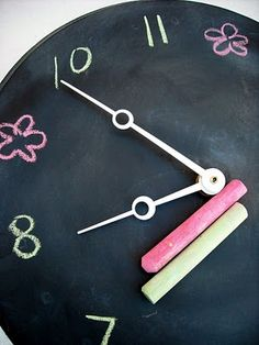 I have been thinking of new clock ideas lately & when I saw a can of Chalkboard Spray Paint at Home Depot last week, I had to get it! Chalkboard Spray Paint, Chalkboard Ideas, Telling Time For Kids, Diy Clock, Clock Ideas, Dyi Crafts, Wooden Clock, General Crafts, Blackboards