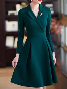 Stylewe Formal Dresses Long Sleeve 1 Casual Dresses Date A-Line Surplice Neck Zi. - Stylewe Formal Dresses Long Sleeve 1 Casual Dresses Date A-Line Surplice Neck Zipper Elegant Dresses - Elegant Dresses Classy, Elegant Dresses For Women, Elegant Outfit, Long Casual Dresses, Dress Formal, Simple Dresses, Work Dresses For Women, Dress Coats For Women, Vintage Formal Dresses
