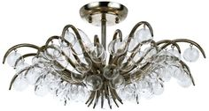 Den: Crystorama Metro Antique Silver 12-Inch-H Ceiling Light  •12-inches high. •20 1/2-inches wide. •Takes five 60W candelabra bulbs (not included).