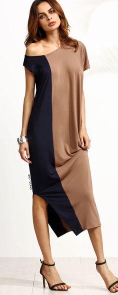 Color Block One Shoulder Side Split Dress