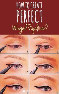 How to Create Perfect Winged Eyeliner - Tutorial #makeup #makeupideas #eyemakeup #tutorial #HowToCleanMakeupBrushes Perfect Winged Eyeliner, Winged Eyeliner Tutorial, How To Apply Eyeliner, Winged Liner, Beauty Make-up, Beauty Hacks, Beauty Tips, Makeup Inspo, Makeup Tips