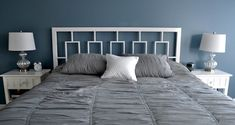 20 Ideas for Making Your Own Headboard  luv the bedding color