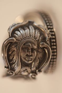 A personal favorite from my Etsy shop https://www.etsy.com/listing/228051864/native-american-indian-sterling-silver #indianchief #nativeamerican #indianjewelry #indianring #powow #headress #spoonring