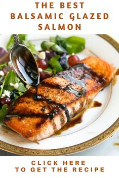Balsamic Glazed Salmon Recipe this is one of my favorite recipes to prepare salmon! Its easy to make yet the end results are perfectly delicious! Its just one of those impressive entrees thats sure to please yet it doesnt require a lot. Top Recipes, Quick Recipes, Salmon Recipes, Balsamic Salmon, Balsamic Glaze, My Favorite Food, Favorite Recipes, Glazed Salmon, Tandoori Chicken