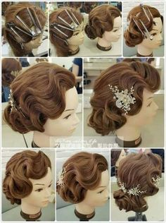 Trendy wedding hairstyles updo finger waves ideas - All For Wedding Hair Style Retro Hairstyles, Elegant Hairstyles, Vintage Wedding Hairstyles, Flapper Hairstyles, Wedding Hair And Makeup, Hair Makeup, Wedding Updo, 1920s Wedding Hair, Cabelo Pin Up