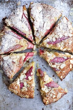 rhubarb and almond cake.Add lots more rhubarb next time ,put quite close together. Think Food, Love Food, Food Cakes, Cupcake Cakes, Cupcakes, Dessert Recipes, Cake Recipes, Picnic Recipes, Breakfast Recipes