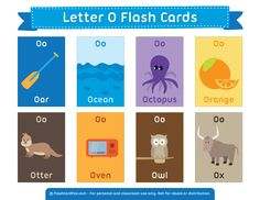 Free Printable Letter O Flash Cards Kindergarten Language Arts, Preschool Education, Preschool Worksheets, English Activities, Vocabulary Activities, English Fun, English Lessons, Word Games For Kids, Letter Flashcards