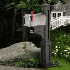 Mayne Dover 4 x 4 Black Polymer Mailbox Post at Lowe's. The Mayne Dover Mail Post is a true classic. This timeless New England-style Mail Post fits over a standard post to create a look that is simple yet Black Mailbox, Mailbox Post, Mailbox Ideas, Cheap Mailboxes, Personalized Plaques, Thing 1, Wood Post, Shower Kits, New England Style