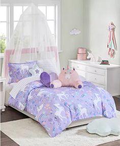 JLA Home Urban Dreams Liliana Twin Comforter Mini Set, Created for Macy's - Purple Small Room Bedroom, Small Rooms, Modern Bedroom, Kids Rooms, Ideas Hogar, Small Room Design, Girl Bedroom Designs, Bedroom Ideas, Girl Bedroom Decorations