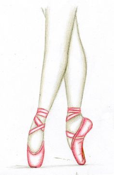 Pencil Drawing of ballerina legs and shoes