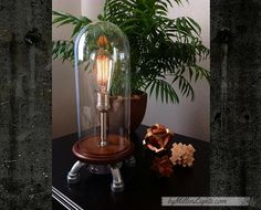 "The ""Mood Rock-it ExtenZe"" Bell jar lamp, tall industrial edison lamp , glass dome"