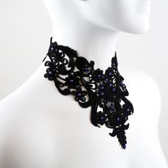 Black Bib Lace Choker Necklace with Purple Amethyst Stones - Victorian Gothic Goth Large Chocker Jewelry for Women. $64.00, via Etsy.