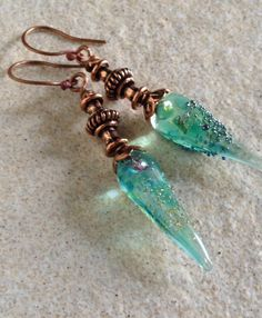 "Artisan Glass Bead Earrings | Unique teardrop sea green earrings with copper handmade ear wires and fittings | Gift for her | ""Ocean Dew"" by MMDJewellery on Etsy Green Earrings, Unique Earrings, Bead Earrings, Organza Bags, Designer Earrings, Special Gifts, Earring Set, Turquoise Bracelet, Glass Beads"