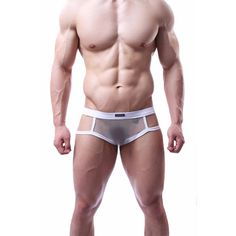 Men's genuine breathable mesh gauze series of sexy black white underwear