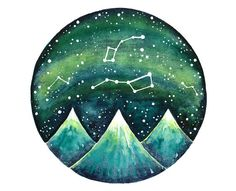 Original painting inspired by Ursa minor , Ursa major constellations and star charts.