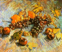 Vincent van Gogh - Still Life with Quinces, Lemons, Pears and grapes, Paris. Even the frame was painted in shades of yellow, ochre & brown. This painting was dedicated to his brother Theo. Van Gogh Museum in Amsterdam. Vincent Van Gogh, Artist Van Gogh, Van Gogh Art, Monet, Art Van, Van Gogh Still Life, Van Gogh Pinturas, Still Life With Apples, Paul Cézanne