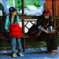 Waiting at the bus stop, original painting by artist Linda Apple | DailyPainters.com