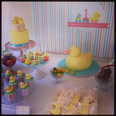 Sophie's Rubber Ducky First Birthday Party!  Ducky Cakes.