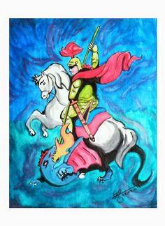 Título: São Jorge - O Caçador de Dragões Técnica: Acrílica sobre tela  40 x 50 cm