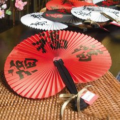 These paper fans will help round out your Asian design theme and keep you cool at the same time! They're perfect party favors for a Chinese New Year celebration or other exotic gathering. New Years Dinner Party, Theme Ideas, Party Ideas, Chinese New Year 2016, Chinese Party, Asian Design, Paper Fans, Chinese Characters, New Year Celebration