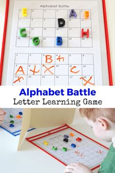 Easy and fun hands on game: Alphabet Battle! Fun way for preschoolers to work on learning their letters!