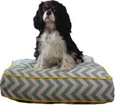 Blue and Cream Chevron Dog Bed- Size Small