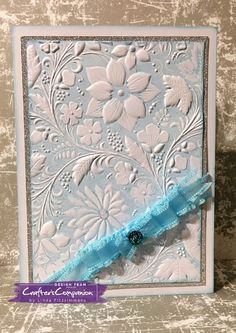 Card made using Crafter's Companion 3D Embossing Folder - Country Garden. Designed by Linda Fitzsimmons #crafterscompanion