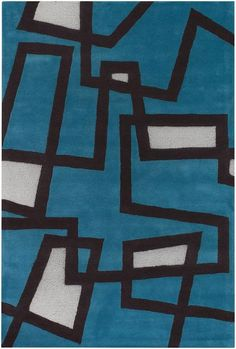 Love the color and that it's like having a piece of art on your floor! RugStudio presents Chandra Bense Garza BEN3005 Blue Hand-Tufted, Good Quality Area Rug